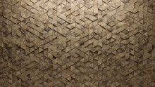 3D Tiles Arranged To Create A Triangular Wall. Semigloss, Textured Background Formed From Natural Stone Blocks. 3D Render
