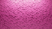 Pink Tiles Arranged To Create A Triangular Wall. Semigloss, Futuristic Background Formed From 3D Blocks. 3D Render