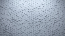 White Tiles Arranged To Create A Semigloss Wall. 3D, Triangular Background Formed From Futuristic Blocks. 3D Render