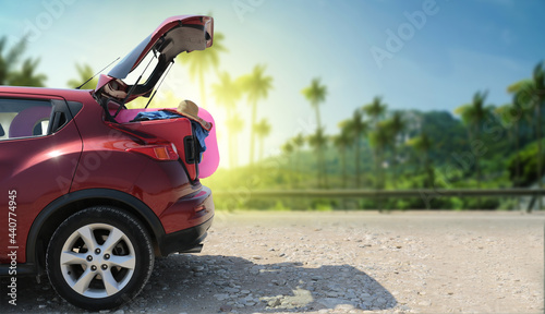 Summer car with suitcase and free space for your decoration