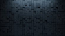 Futuristic Tiles Arranged To Create A Square Wall. Semigloss, Black Background Formed From 3D Blocks. 3D Render