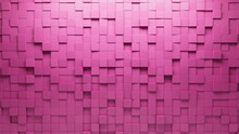 Semigloss Tiles Arranged To Create A Futuristic Wall. Pink, 3D Background Formed From Square Blocks. 3D Render