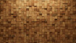 Square Tiles arranged to create a Natural wall. Soft sheen, Wood Background formed from 3D blocks. 3D Render