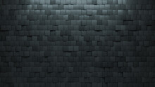 Futuristic Tiles Arranged To Create A Square Wall. 3D, Semigloss Background Formed From Concrete Blocks. 3D Render