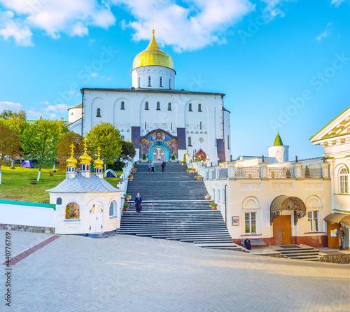 Fotografie, Obraz Staircase to Hoy Trinity Cathedral of Pochayiv, Ukraine