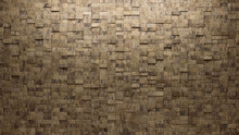Textured Tiles Arranged To Create A Rectangular Wall. 3D, Semigloss Background Formed From Natural Stone Blocks. 3D Render