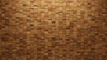 Wood Tiles Arranged To Create A Rectangular Wall. Natural, Soft Sheen Background Formed From 3D Blocks. 3D Render