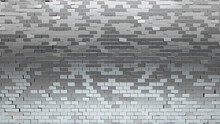 3D Tiles Arranged To Create A Glossy Wall. Silver, Rectangular Background Formed From Luxurious Blocks. 3D Render