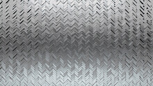 Silver Tiles Arranged To Create A 3D Wall. Herringbone, Glossy Background Formed From Luxurious Blocks. 3D Render