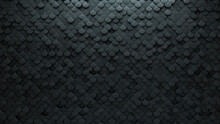 Futuristic Tiles Arranged To Create A Fish Scale Wall. Semigloss, Concrete Background Formed From 3D Blocks. 3D Render