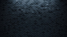 Futuristic Tiles Arranged To Create A 3D Wall. Semigloss, Black Background Formed From Arabesque Blocks. 3D Render