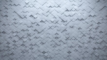 Semigloss Tiles Arranged To Create A Arabesque Wall. Futuristic, 3D Background Formed From White Blocks. 3D Render