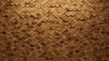 Natural Tiles Arranged To Create A 3D Wall. Arabesque, Wood Background Formed From Soft Sheen Blocks. 3D Render