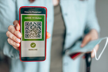 Smartphone With Digital Health Passport App For Travel During Covid-19 Pandemic.