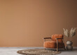 Leinwandbild Motiv Cozy home interior with wooden furniture on brown background, empty wall mockup in boho decoration, 3d render