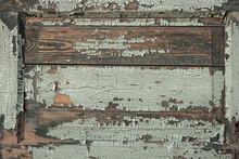 Peeling Old Paint On Wood. Grunge Background