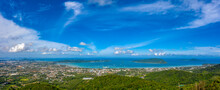 Aerial Panorama View Chalong Gulf In Blue Sea. Loan Island Is Close To Chalong Pier..Houses, Buildings Of Phuket Town.