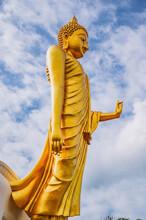 Phu Khok Ngio Big Buddha With Beautiful Blue Sky Background At Chiang Khan District Loei Thailand.Chiang Khan Skywalk Of Phu Phra Yai The New Landmark Of Chiang Khan District