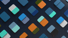 Colorful 3d Render Abstract. Cards On The Surface With Dot Pattern.