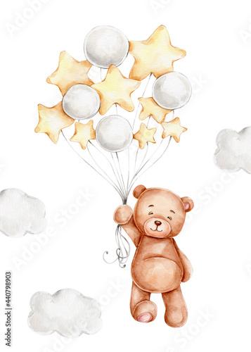 Fototapeta Cute cartoon teddy bear with balloons; watercolor hand drawn illustration; can b