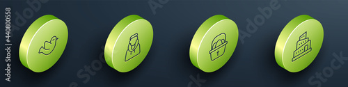 Photo Set Isometric line Dove, Monk, Basket with easter eggs and Babel tower bible story icon