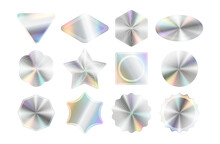 Set Of Holographic Stickers Mockups. Hologram Labels Of Different Geometric Shapes