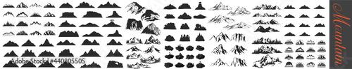 Fotografiet Mountain icons set, Mountain Peaks, Snowy Mountain Peaks, Mountains and Hills, R
