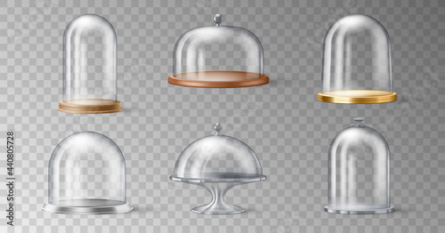 Canvastavla Set of realistic cake stand with glass domes cover on transparent background in