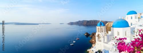 Valokuva white belfries Santorini island, Greece