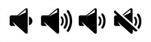 Set Of Volume Icons Isolated On White Background. Mute And Unmute Volume Sound Flat Vector Icons For Video Apps And Websites. Black Volume Sound Vector Illustration.