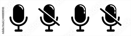 Fotografia Mute and unmute audio microphone flat vector icons for video apps and websites