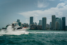 Boat In The City Sea Lifestyle Party Family Buildings Skyline Panorama Miami Florida Summer Yacht Blue Urban Ocean