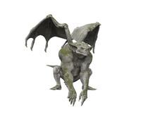 3D Illustration Of A Gothic Stone Gargoyle Statue Isolated On A White Background.