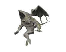 3D Illustration Of A Moss Covered Stone Gargoyle Fantasy Creature Isolated On A White Background.