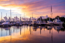 Fresh Beautiful Sunday Morning Sunrise At A Marina Full Of Boats On The Seaside Near The Ocean Great Lifestyle Or Travel Destination