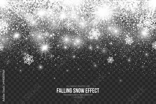 Valokuva Abstract Falling Snow Effect Transparent Background Merry Christmas And Happy Ne