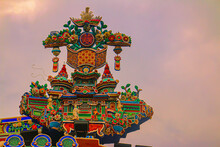 Chinese Roof Building Ornate Against White Sky