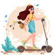 Kolorowa ilustracja, młoda dziewczyna jadąca na hulajnodze w letnim stroju. Lato w mieście.