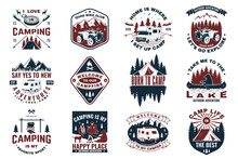 Set Of Camping Badges With Design Element. Vector. Concept For Shirt Or Logo, Print, Stamp Or Tee.