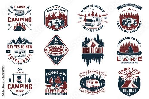 Set of camping badges with design element Fotobehang