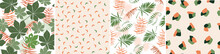 Set Of Seamless Pattern Of Tropical, Exotic Leaves, Plants, Palm Trees, Monstera, Simple Geometric Shapes. Bright, Summer Jungle Print For Fabrics, Textiles, Design. Vector Graphics.