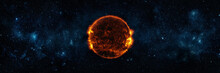 Panoramic View Of The Sun, Star And Galaxy.  A Wide View Of The Sun And Stars From Space. Concept On The Theme Of Ecology, Environment, Earth Day. Elements Of This Image Furnished By NASA.