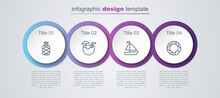 Set Line Pineapple, Coconut Cocktail, Yacht Sailboat And Rubber Swimming Ring. Business Infographic Template. Vector