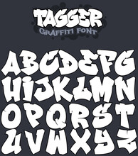 Tagger - A Graffiti Styled Vector Font. 100% Vector. Move The Letters Around And Form Your Own Words. Made By MindGem, A Professional Graffiti Artists With More Than 30 Years Of Cutting Edge Graffiti
