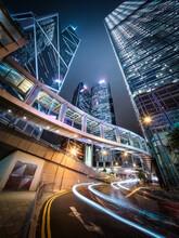Modern Skyscraper Buildings At The Financial District, Hong Kong, China