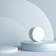 Leinwandbild Motiv Mockup scene for product display, blue background, 3d render, 3d illustration.