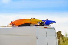 Van With Canoe On Top Roof