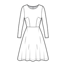 Dress Flared Skater Technical Fashion Illustration With Long Sleeves, Fitted Body, Knee Length Semi-circular Skirt. Flat Apparel Front, White Color Style. Women, Men Unisex CAD Mockup