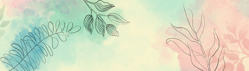 Abstract minimal flower leaves outlines in black on yellow background with pink blue and green watercolor painted border design, trendy modern botanical or floral art illustration with simple sketch