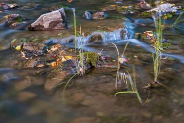 Closeup shot of flowing waterfall in rocks